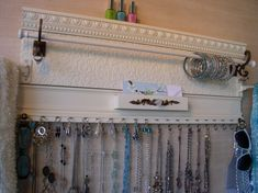 Large off White Jewelry organizer Wall accessory by mybighangup