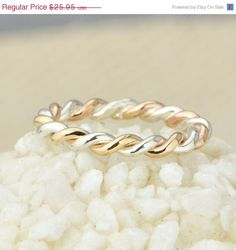 Labor Day Sale Two Toned Twist Ring  by TheJewelryGirlsPlace, $20.76