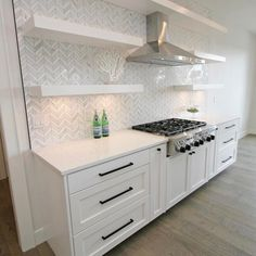 Some kitchen backsplash inspiration for you I've had my eye on this tile for awhile & been stuck on this vs. the classic white subway tile. Home Kitchens, Kitchen Backsplash Designs, Kitchen Remodel Small, Kitchen Design, White Kitchen Design, Home Decor Kitchen, Kitchen Interior, Kitchen Style, Modern Kitchen Design