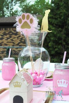 Pretty pink and gold place settings at a doggie boutique birthday party! See more party ideas at CatchMyParty.com!
