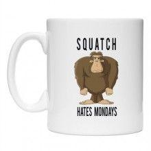 Teeburon Squatch Hates Mondays Monsters Mug