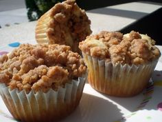crumb cake cupcakes! im going to use my moms crumb cake recipe and try this!