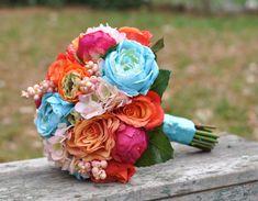Wedding Flowers, Wedding Bouquet, Keepsake Bouquet, Bridal Bouquet, Bright Summer Wedding Bouquet made of silk flowers.