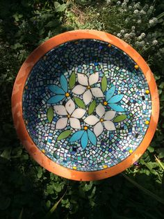 Glass mosaic bird bath