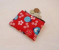 Beautiful Red and Blue Ladybird Fabric Coin Purse - Free P Gold Angel Wings, Angel Wing Pendant, Red And Blue, Coin Purse, June, Handmade Items, Pearls, Fabric, Beautiful
