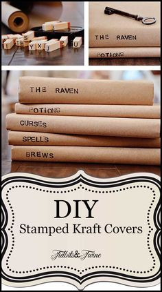 A step-by-step tutorial for covering books with paper and stamping them for a decorative look!