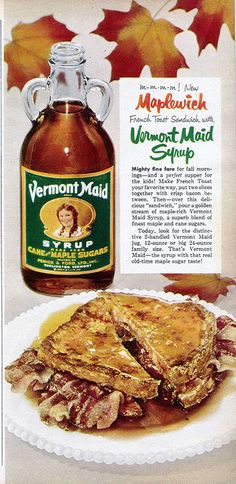 Vermont Maid maple syrup advertisement, published in the October 1954 issue of Family Circle magazine.