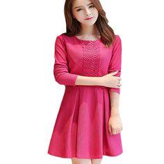 394098f853 Women s Vintage Autumn Winter Slim Ukraine Lace Vestido Party Sweater Dress…  Ukraine