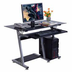 GOPLUS Стекла Лучших Современных Стол Компьютерный Стол Офисная Мебель Клавиатура Полка Новый HW51359