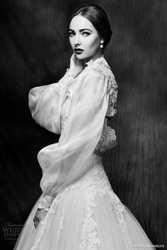 lusan mandongus wedding dress 2015 ball gown style lm2854b close up puff long sleeve jacket -- Lusan Mandongus 2015 Wedding Dresses