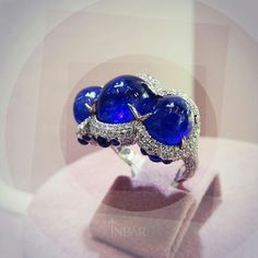 @inbarjewellery. Can one have too many sapphires? White gold, sapphire and diamond Inbar ring.