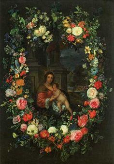 Pieter van Avont, also Peeter van Avont, (1600- 1652) and Frans Ykens (1601-1693) —   Madonna with Child  in Garland (488x700)