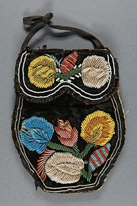 Woman's Bag (Reticule)    Made in United States  c. 1860    Artist/maker unknown, American    Cotton velveteen with glass beads  6 1/2 x 5 inches (16.5 x 12.7 cm)