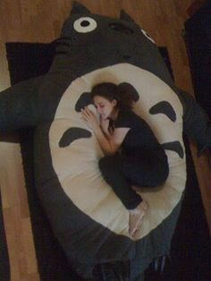 Stephan Royer: Homemade giant Totoro flor pillow (shell stuffed with 99 cent pillows; make an opening and it can be washed)