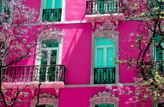 Bright Spring Home, Lisbon, Portugal. Pink and turquoise. Pretty In Pink, Pink Love, Pink And Green, Perfect Pink, I Believe In Pink, Bright Spring, Pink Houses, Colorful Houses, Colourful Buildings