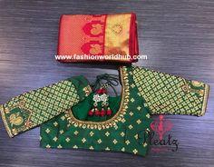 Maggam work blouse designs by Pleatz Blouse Back Neck Designs, Simple Blouse Designs, Wedding Saree Blouse Designs, Pattu Saree Blouse Designs, Wedding Sarees, Latest Maggam Work Blouses, Colorful Rangoli Designs, Maggam Work Designs, Hand Designs