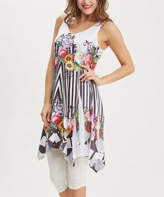 Loving this Simply Couture White & Black Abstract Stripe & Floral Racerback Sleeveless Tunic on #zulily! #zulilyfinds