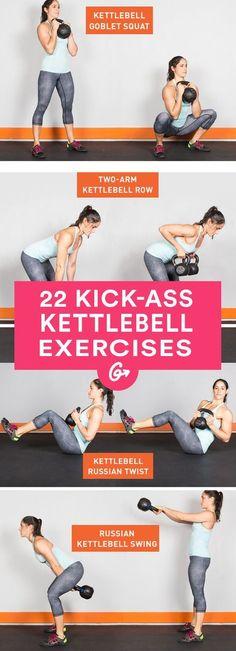 22 Kick-Ass Kettlebell Exercises #fitness #kettlebell #exercises http://greatist.com/fitness/22-kick-ass-kettlebell-exercises
