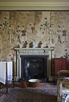The wallpaper in the Chinese Dressing Room, painted on mulberry paper, is probably the oldest at Saltram, dating from the early eighteenth century, and depicts elegant people in a garden setting.
