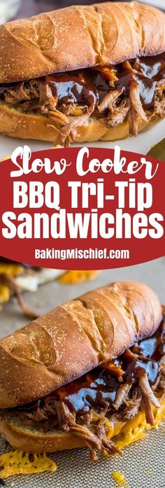 Slow Cooker Tri-Tip Sandwiches are my favorite way to enjoy summer BBQ without having to actually barbecue anything!