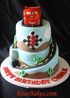 Cars 2 Lightning McQueen Cake with details & lots of pics!