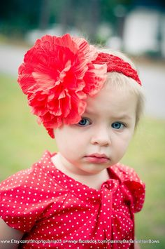 Red Peony Flower with Red Headband by Sammy Banany's by iguania03, $5.99