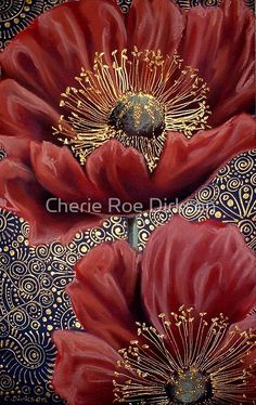 'Red Poppies II' Photographic Print by Cherie Roe Dirksen Art Floral, Silk Painting, Painting & Drawing, Art Pastel, Alcohol Ink Art, Chalk Pastels, Leaf Art, Chalk Art, Art Themes