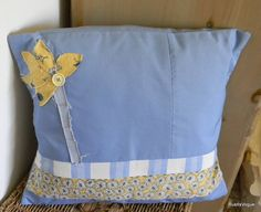Upcycle and Vintage Fabric Applique Throw Pillow by RustIsVogue, $25.00