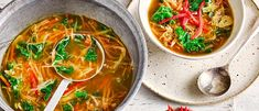Shred ginger, leeks and carrots into this umami-rich soup and top up with quinoa and kale for a nourishing, low-calorie meal Easy Soup Recipes, Vegan Recipes Easy, Veggie Recipes, Asian Recipes, Vegetarian Recipes, Ethnic Recipes, Veggie Dinners, Vegetarian Soup, Lunch Recipes