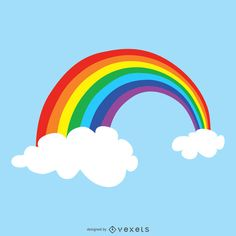 Rainbow illustration full of colors. Design shows the rainbow between two clouds in the middle of the sky. Rainbow Drawing, Rainbow Art, Rainbow Bridge, My Little Pony Poster, Rainbow Cartoon, Rainbow Images, Rainbow Connection, Turtle Painting, Journal Cards