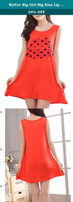 f31e642924 MyFav Big Girl Big Kiss Lip Pajamas Dress Comfy Modal Vest Sleepwear  Nightgown. 1.
