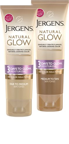"Jergens® Natural Glow 3 Days To Glow™ Moisturizer - Immediate results after a couple days, doesn't look fake, and ""sunless tanning odor"""