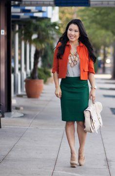 cute & little blog | orange swing blazer, gray tee, amrita singh pint statement necklace, j. crew heather pine green pencil skirt #fall #out...