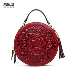 Cheap messenger handbag, Buy Quality round bag directly from China bag shoulder Suppliers: NASIBAO New Handbags Embossed Floral Cowhide Leather Tote Style Ladies Tassel Round Bag shoulder Messenger Handbag New Handbags, Handbags Online, Vintage Handbags, Fashion Handbags, Leather Handbags, Leather Bag, Gland, Round Bag, Chinese Style