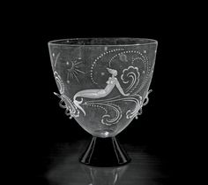 Guido Balsamo Stella per Manifattura SALIR, Venezia, Coppa Sirena e luna, 1925-1928, vetro inciso. Venezia, SALIR.