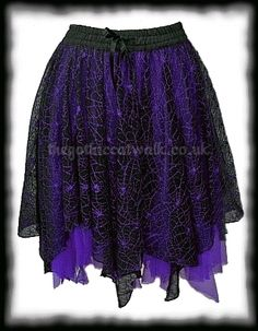 Black Lace & Purple Chiffon Long Gothic Skirt | gothy happiness ...
