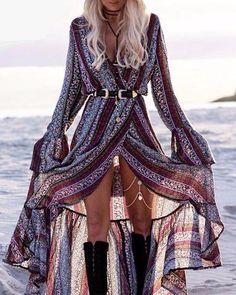 Boho Wrap Maxi Dress | Boho Maxi DressMaterial: Cotton,PolyesterSilhouette: A-LinetSleeve Lengt | Primary View | Sassy Posh