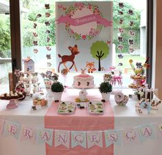 Violeta Glace 's Baptism / Enchanted Forest - Photo Gallery at Catch My Party Baptism Party, Baby Party, Baby Girl Shower Themes, Baby Shower Decorations, Bambi Baby, Enchanted Forest Party, Baby Table, Animal Birthday, Woodland Baby