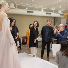 Mr. Albert Wolsky fitting a gown at Otis Fashion with Jill Zeleznik, Student: Vga Cai