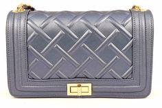 MINI BAG LM 6482 BLU Oro Borsa Tracolla Mono Spalla Pochette Catene mod Chanel
