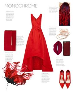 """Red"" by kawaiiunicorn2 ❤ liked on Polyvore featuring Oscar de la Renta, Red Camel, Vianel and Lime Crime"
