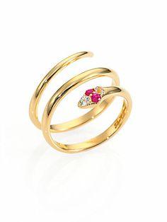 Elizabeth and James Meadowlark White Topaz & Ruby Coiled Snake Ring