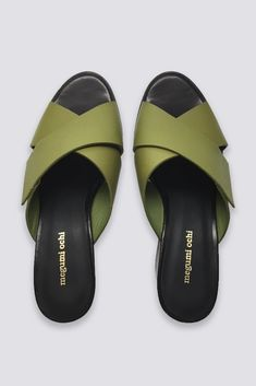 Megumi Ochi Leather Cubic Mule - Olive Green