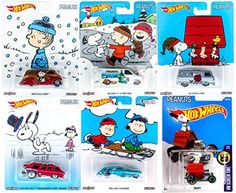 Peanuts Hot Wheels Snoopy Charlie Brown Christmas Set Collectible Pop Culture Car - 2016 Red Baron Dog house / Woodstock / Lucy / Linus Holiday Series