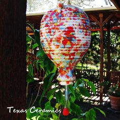 Hanging Ceramic Hummingbird Nectar Feeder Birdwatchers Favorite Colors | TexasCeramics - Earth Friendly on ArtFire