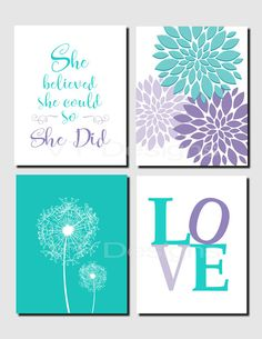 She believed she could so she did Teal Purple Lavender Kids Wall Art Brooklyn Nursery Girls Room Dandelions Set of 4 Prints or Canvas Teal Baby Rooms, Have A Happy Day, She Believed She Could, Teen Girl Bedrooms, Art Wall Kids, Girl Wall Art, Little Girl Rooms, Girl Nursery, Nursery Ideas