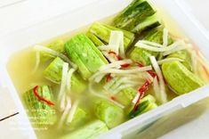 오이겨자물김치-겨자 맛이 톡 쏘는 시원하고 깔끔한 오이겨자물김치...^^ : 네이버 블로그 Korean Dishes, Korean Food, K Food, Good Food, Kimchi Recipe, My Best Recipe, Food Plating, Herbal Remedies, Herbalism