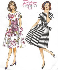 Retro 60s Womens Full Skirted Dress Bateau Neckline by CloesCloset