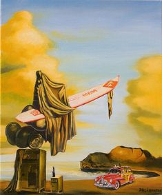 Dream On The Beach By Dali - The Amadeus Series, oil painting by Dominique Amendola, light, sunrise, yellow. Fine art prints available, just click on this image. This image is under strict copyright to Dominique Amendola.