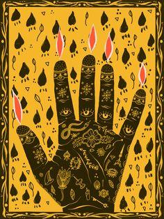 Digital Illustration – Let the Light In – hand illustration – illustration print – sacred art – tattoo flash – south asian art – indian art – surface pattern – pattern design – graphic design – palmistry – green witch – yellow – black and yellow. Hand Illustration, Graphic Design Illustration, Magazine Illustration, Illustrations, Geometric Pattern Design, Surface Pattern Design, Sacred Art Tattoo, Namaste Art, Asian Sculptures